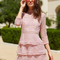 Pink Dotted Crochet High Neck 3/4 Sleeve Layered Dress