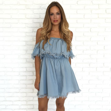 Sun Kissed Light Denim Fray Dress