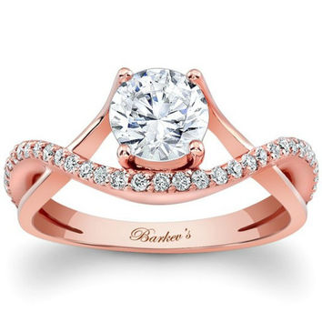 Barkev's Split Shank Cross Over Twist Diamond Engagement Ring