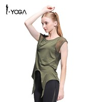 Fitness Active Sexy Yoga Sports Loose Vest Tank Top Workout Gym Training Mesh T Shirt Fashion Running Clothes for Sport Women