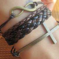 Bracelet--antique bronze 8  infinite bog cross bracelet & double wax string chain