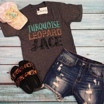 Turquoise Leopard & Lace Tee