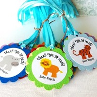 Animal Safari Jungle Gift Favor Party Tags, Personalized Boys Girls