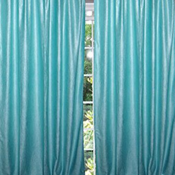 "Moroccan Blue Tab Top Velvet Curtain / Drape / Panel- Pair Indian Window Treatment (Size: Length: 108"".) …"