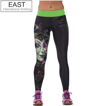 New Fashion Women's High Waist Fitness YOGA Sports Pants Printed Stretch Cropped Leggings