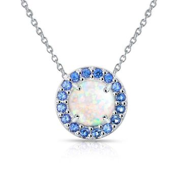 Round Halo Simulated White Opal & Blue Sapphire Necklace in Sterling Silver