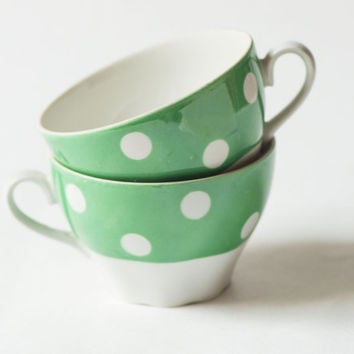 Vintage cups set 2, polka dot cups fern green – tea cups porcelain – coffee cups breakfast - shabby chic bowls