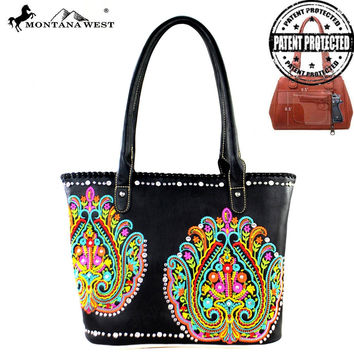 Montana West Black Embroidered Collection Handbag MW363G-8317