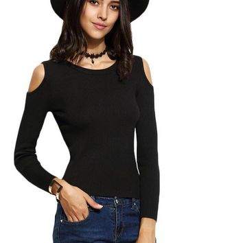 SheIn Casual Pullover Sweaters For Woman Autumn Black Round Neck Long Sleeve Open Shoulder Skinny Jersey Sweater