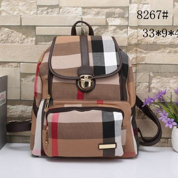 """Burberry"" Women Casual Multicolor Stripe Zip Backpack Double Shoulder Bag"