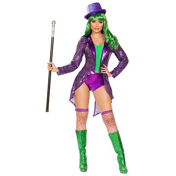 Sexy The Joker Sequin Jacket and Shorts Costume