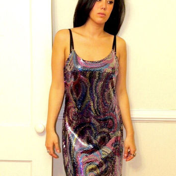 Rainbow Silver Colorful Metallic Nye Holiday Sequin Glam Party Mini Dress (Vintage)