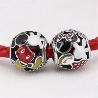 Sterling Silver Enamel Mickey and Minnie charm Bead