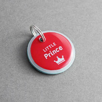 Pet ID Tag Little Prince - Dog ID Tag, Cat ID Tag, Crown, Personalized, Custom, Cat Lover Gift, Dog Lover Gift, Puppy Collar, Print, Charms