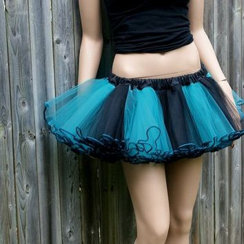 Sea Nymph Teal Black Striped Adult TuTu All Sizes MTCoffinz