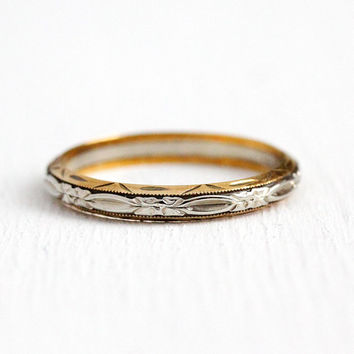 Flower Wedding Band - 14k Yellow & White Gold Dated 1943 Bridal Ring - 1940s Art Deco Size 10 Two Tone Eternity Orange Blossom Fine Jewelry