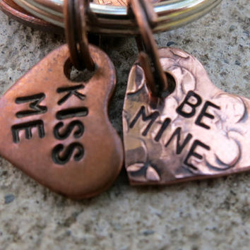 "Teeny Tiny Conversation Heart -  1/2"" Copper Heart keychain  -Made to order-"