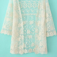 Beige Lace Floral Kimono Cover-up