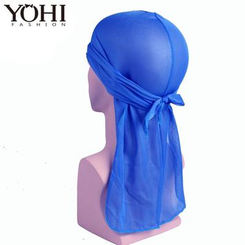 New fashion Hot sale Satin men Stretched Cap Hip Hop Du Doo Rag Durag Solid Color Cat Hat Tie Down tail for men