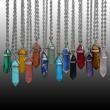 Natural Stone Bullet Shape Healing Point Pendant Necklaces Jade Stone Quartz Amethyst Turquoise Necklace Women Bijoux Collares