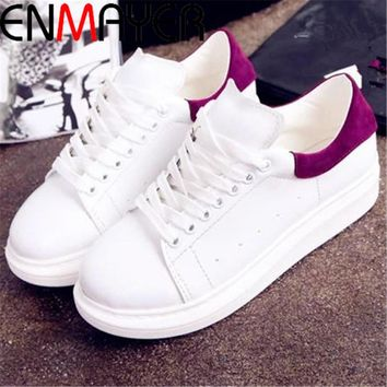 ENMAYER Breathable Women shoes wedge sneakers sport shoes woman Black Red sneakers