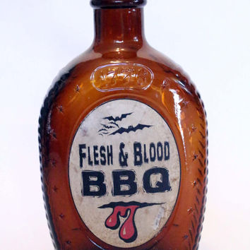 Flesh and Blood BBQ, Halloween Spell Bottle, Ingredient Bottle, Halloween Decor, Halloween, Potion Ingredient, Aged and Distressed Bottle