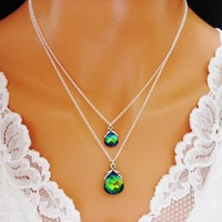 Peacock Necklace Double Strand Green Blue Sterling Silver Weddin - Wedding Jewelry | Handmade
