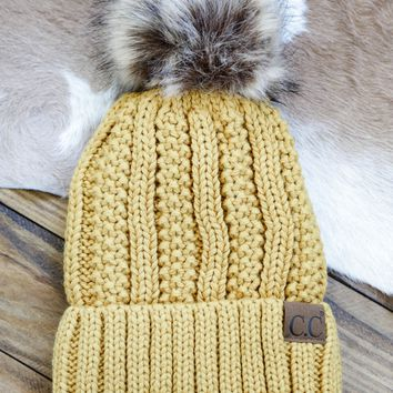 Knitted Beanie With Fur Pom, Mustard