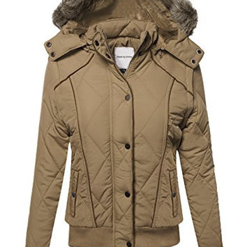 MBE Women's Quilted Puffer Jacket With Detachable Faux Fur Hood