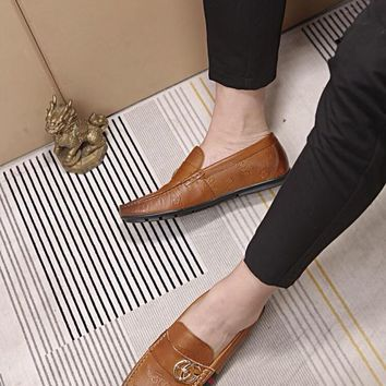 Men's Leather Loafers Shoes Mens Dress Shoes,BROWN Shoes