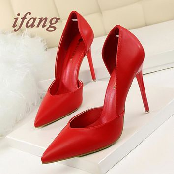 ifang 2016 Bridal Women Pumps Red High Heel Wedding Heels Victoria Shoes Woman Two-Pie