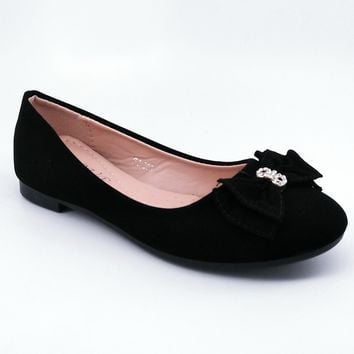 Women's Black Flats with Bow Detail