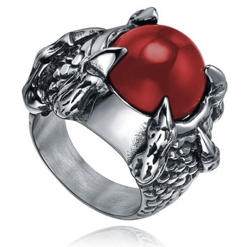 Stainless Steel Heavy Dragon Claw W. Red Onyx Ring