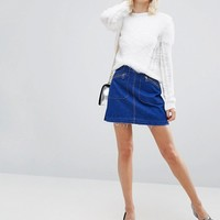 River Island Fluffy Cable Sweater at asos.com