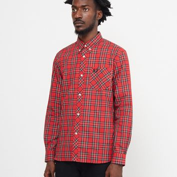 Fred Perry Long Sleeve Tartan Shirt Red