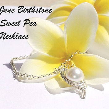 June birthstone necklace  sweet pea in a pod  by ThePeaPodPlace