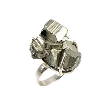 Golden Pyrite Rough Sterling Silver Prong Ring