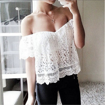 Summer Short Sleeve Lace Embroidery Hollow Out Tops [4966226372]