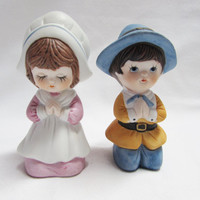 Vintage Thanksgiving Figurines Ceramic Pilgrims Praying