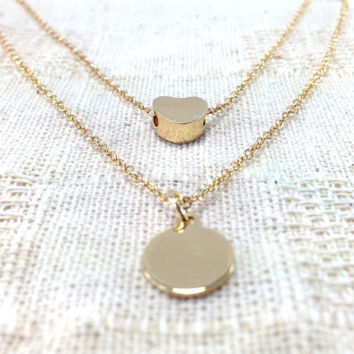 Heart and Tiny Gold Disc Layered Necklace, Layered, heart, bridesmaid necklace, gold coin Double Necklace