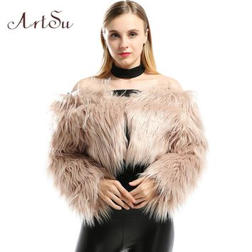 AtrSu Warm Faux Fur Cropped Coat Fashion Short Vest Women Fluffy Long Sleeve Sexy Off Shoulder 2017 Fall Winter Jacket ASCO30036