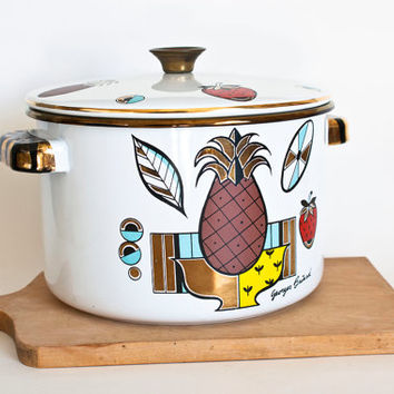 Georges Briard Pineapple Fruit Print White Enamel Stock Pot, Mid Century Cookware
