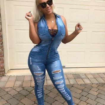Blue Cut Out Pockets Lace-up Ripped Distressed Denim Deep V-neck Club Evening Party Casual Long Jumpsuit