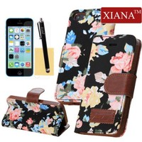 iPhone 5C Case, XIANA Luxury Elegant Blossom Flower Stand Wallet Folio Case Cover Denim Leather Combo Magnet Design with Credit Card Slots,Stylus Pen,Screen Protector and Cleaning Cloth Suitable For Apple iPhone 5C(Black)