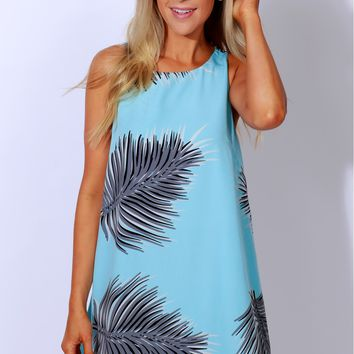 Calm Yourself Print Dress Aqua
