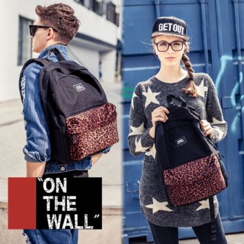 """Vans""Fashion Personality printing large capacity backpack bag leisure travel boom Black brown leopard grain(8 style)"