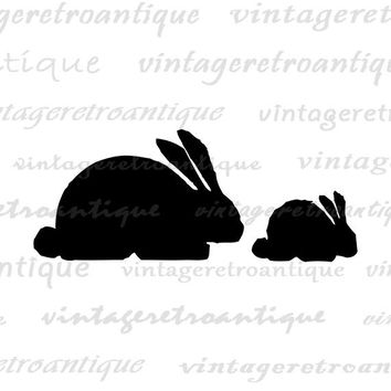 Digital Printable Rabbits Silhouette Graphic Rabbits Image Cute Bunny Download Antique Clip Art for Transfers Printing etc HQ 300dpi No.4678