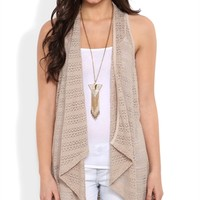 Sleeveless Duster Sweater with Drape Front