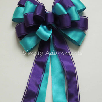 Purple Teal Blue Peacock Wedding Aisle Bow Teal Blue Purple Church Aisle Pew Bow, Teal Purple Party Decor Peacock Bridal Shower party Decor