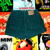 Vintage LEVIS Dark Forest Green Denim Cut Offs, 80s High Waisted Jean Shorts, Frayed/Cuffed/Naturally Distressed Button Fly Shorts Size 12 L